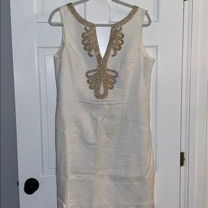White and gold Lilly Pulitzer shift dress